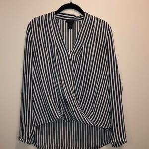 Grey and white striped long sleeve wrap blouse